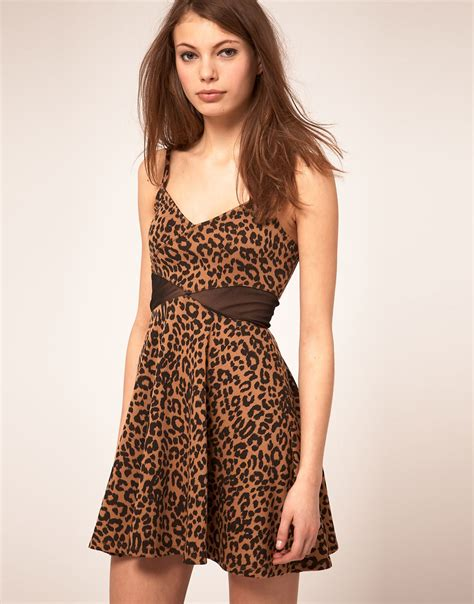 Leopard Dress 9863 1 lyst asos collection asos skater dress in leopard print