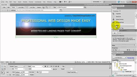 tutorial build website c how to make a website in dreamweaver tutorial for