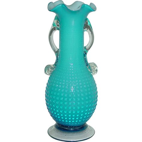 Hobnail Vase by Glass Hobnail Vase Blown Blue Cased Applied