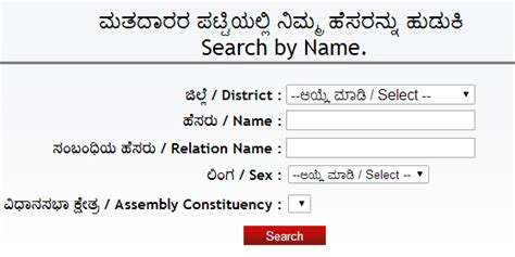 Electoral Search Ceo Karnataka Voter List 2016 Ceokarnataka Kar Nic In 2018 Results