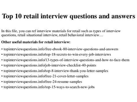 top 10 retail questions and answers
