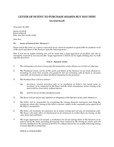 Letter Of Intent To Purchase Shares letter of intent to purchase assets and shares but not debt forms and business templates