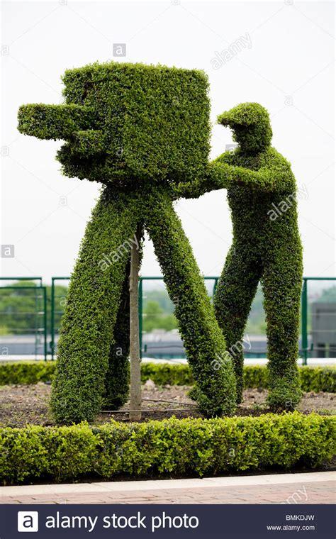 hedge topiary vintage cameraman represented in box hedge