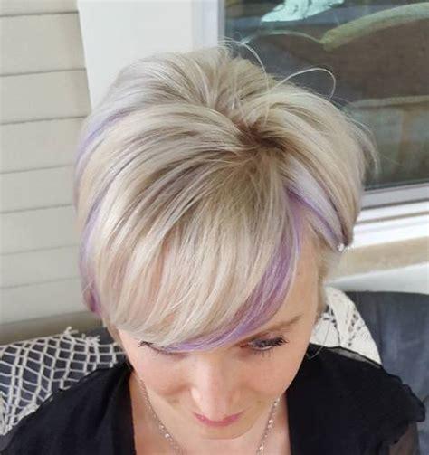 sassy purple highlighted hairstyles  short medium