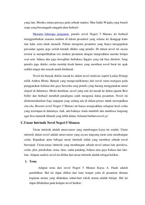 Analisis novel novel negri 5 menara