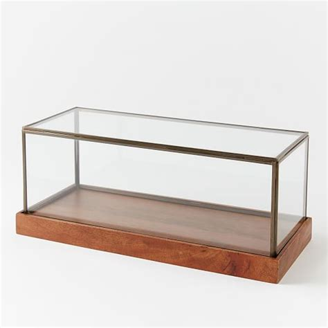 small glass display cabinet wood glass display cases west elm