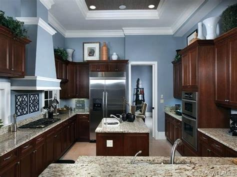 Blue Kitchen Walls With Brown Cabinets Blue Kitchen Walls With Brown Cabinets Homes Kitchen Light Blue Walls Accents Brown