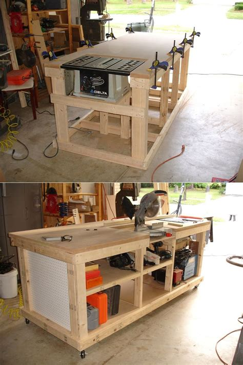 how to make a table saw bench diy ultimate workbench table saw and outfeed chop saw