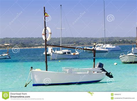 anchor boat in lake estany des peix in formentera lake anchor boats stock