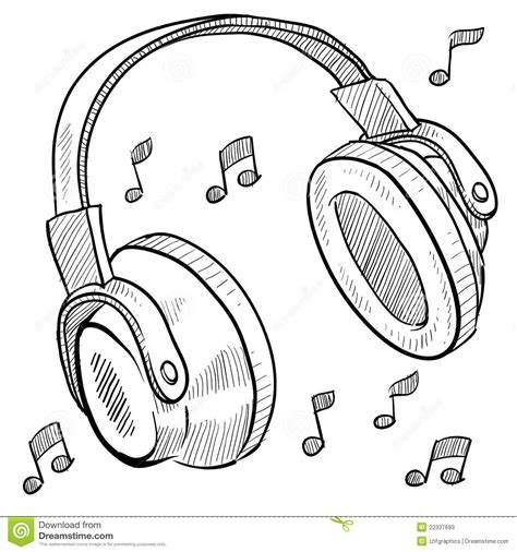 doodle with others headphones musical sketch stock photos image 22337693