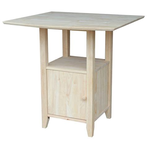 Unfinished Bar Table Seville Classics Ultrazinc Steel Kitchen Utility Table With Rubber Wood Top She16369z The Home