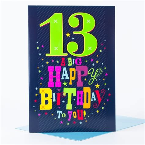 Birthday Card For 13 Year Giant 13th Birthday Card Big 13 Only 99p