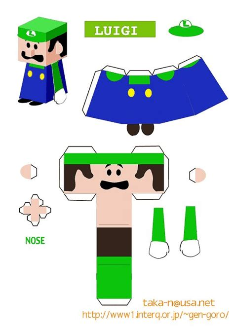 Luigi Papercraft - luigi paper craft cutout ideas paper