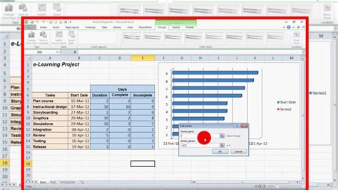 how to create a progress gantt chart in excel 2010 youtube how to create a progress gantt chart in excel 2010