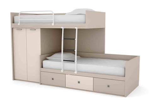 kids bedside l step shape grey and cream combine space saving bunk beds