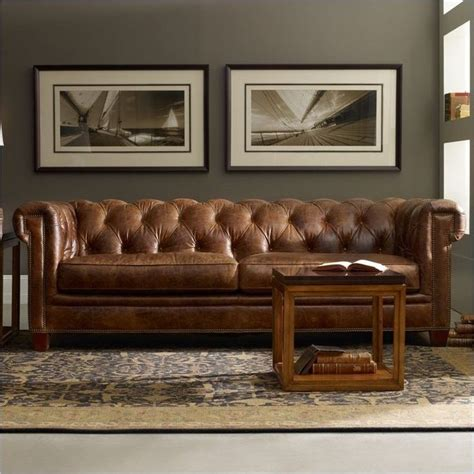 tufted brown leather couch hooker furniture seven seas malawi tonga brown tufted