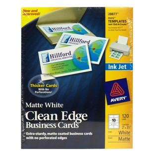 avery clean edge busines cards inkjet template avery 25009911 business cards matte white clean edge