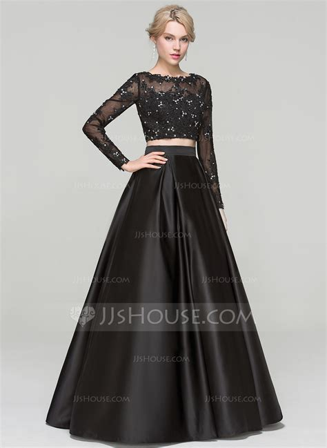 dress design for js prom ball gown scoop neck floor length satin evening dress with