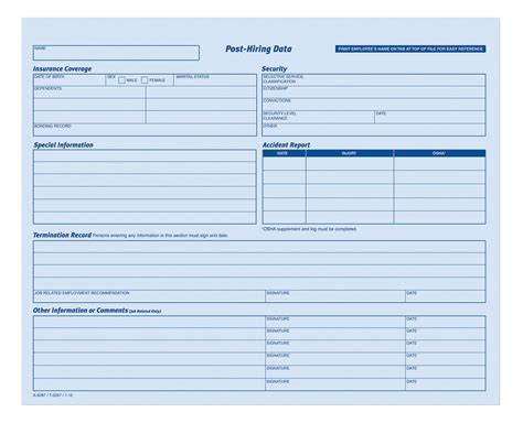 Employees Personnel File Folder Heavy Card Stock 20 Form Pk Personnel Form Template
