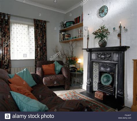 cast room original edwardian cast iron fireplace in nineties living room stock photo royalty free image
