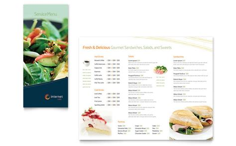Menu Brochure Template Free by Free Restaurant Menu Template Word Publisher