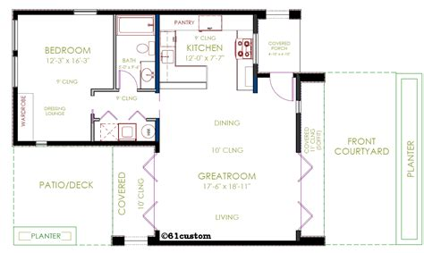 Floor Plans For Single Level Homes by Casita Plan Small Modern House Plan 61custom