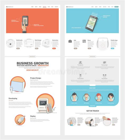 2 Page Website Template Two Page Website Design Template With Concept Icons And Avatars For Business Company Portfolio