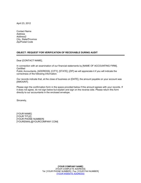 Confirmation Credit Letter Accounts Receivable Confirmation Letter Template Letter