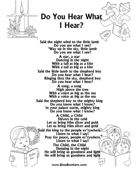 printable lyrics do you hear what i hear bluebonkers do you hear what i hear free printable