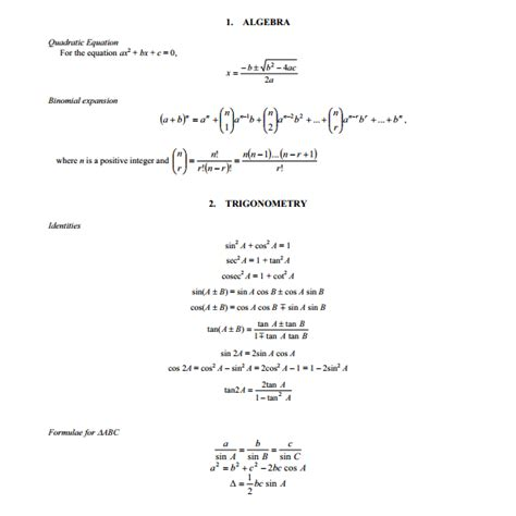 o level a maths standard formula sheet kenneth