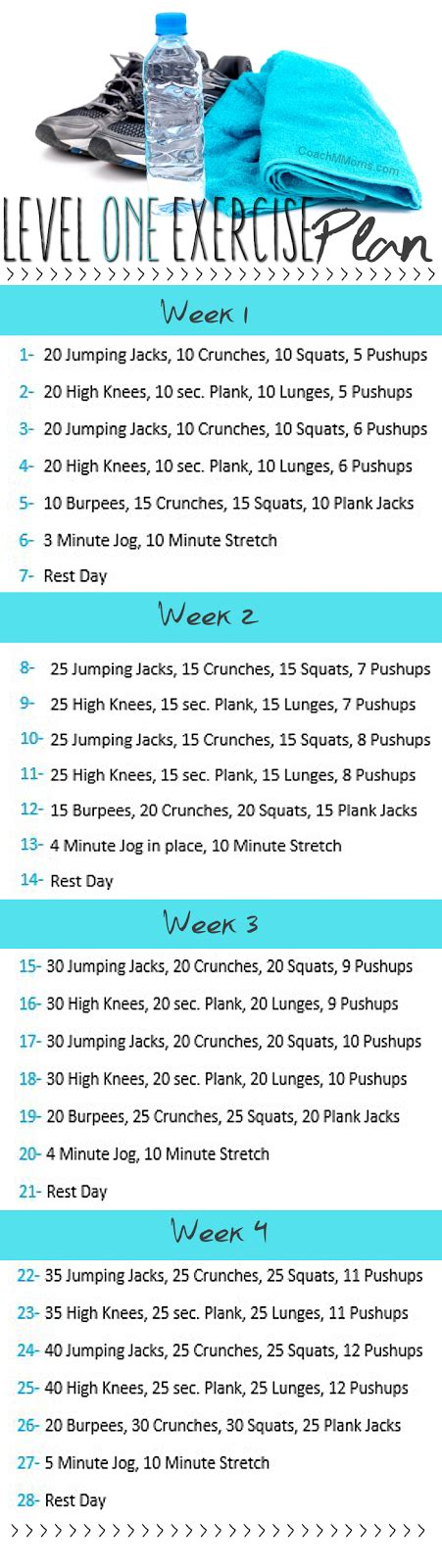 level one exercise plan to insanity back