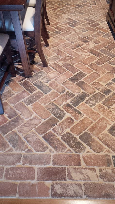 Brick Kitchen Backsplash by Brick Floor Herringbone Pattern Vintage Brick Veneer Blog