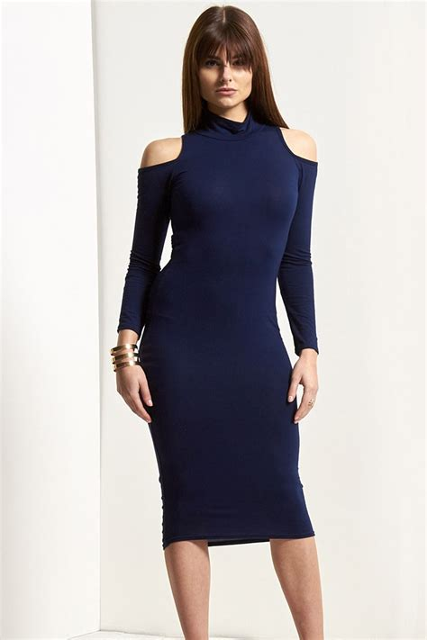 Cut Out Shoulder Midi Dress womens turtle neck cut out shoulder jersey stretchy top sleeve midi dress ebay