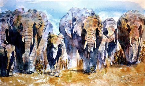 elephant herd painting by steven ponsford