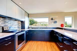 Large Kitchen Cabinets twist a kitchen lower black cabinets and upper white cabinets
