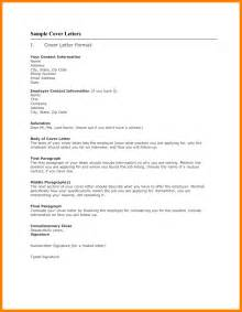 format for application cover letter 6 free sle cover letters for applications