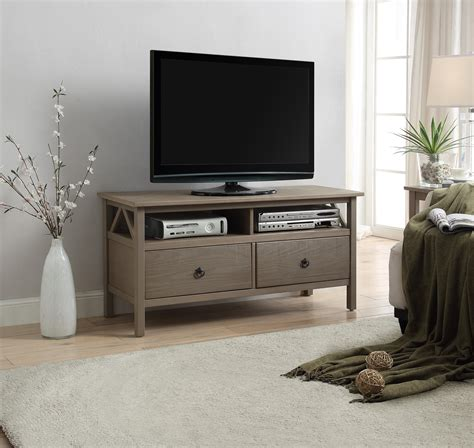 sears home decor linon titian rustic gray tv stand