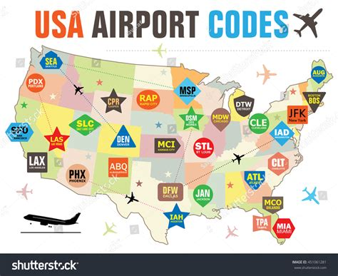 map of airports in usa set vector tags usa airport codes stock vector 451061281