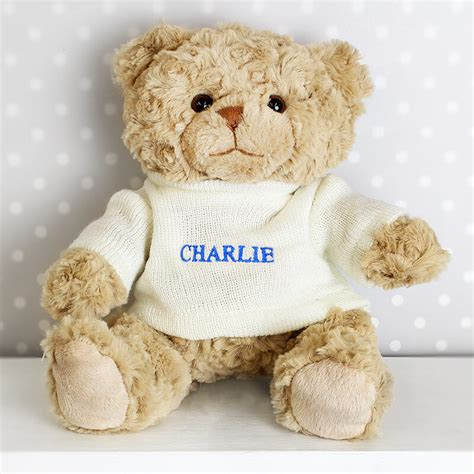 personalised teddy bear blue name buy from prezzybox com