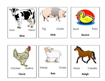 printable animal flashcards in spanish farm animal flash cards bilingualsounds the animals make