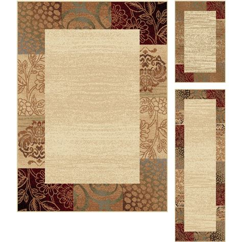 tayse international trading beige 3 piece set elegance area rug