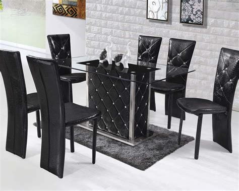 dining set w rectangular glass top table nancy by acme