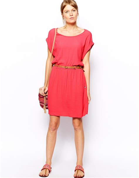 mango belt shift dress in pink lyst