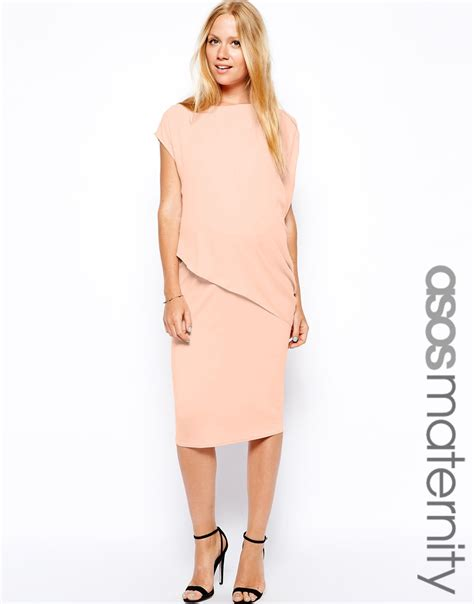 dress with drape asos bodycon dress with drape overlay in pink lyst
