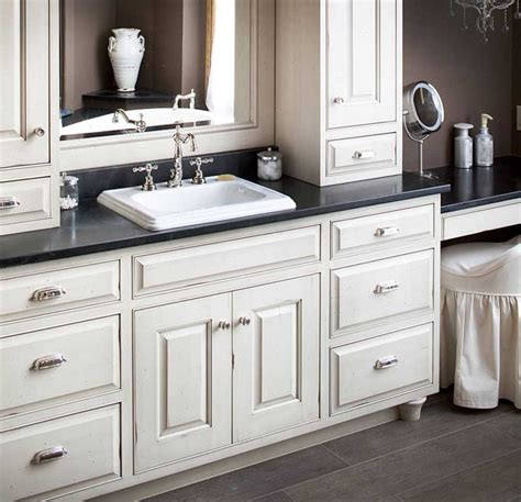 Semi Custom Bathroom Cabinets Semi Custom Bathroom Cabinets With White Color And Black Countertop Home Interior Exterior