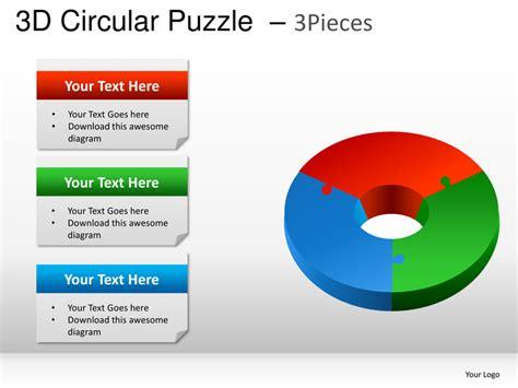 3 puzzle pieces template 3d circular puzzle 3 pieces powerpoint presentation templates