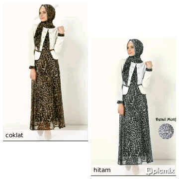 Dress Gamis Cerruti Furing Tidak Transparan busana wanita leopard set gamis blazer