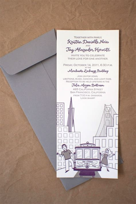 Wedding Invitations San Francisco by Kristen S Modern Illustrated San Francisco Wedding