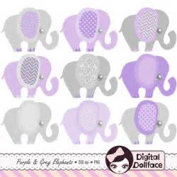 purple elephant baby shower clip purple and grey