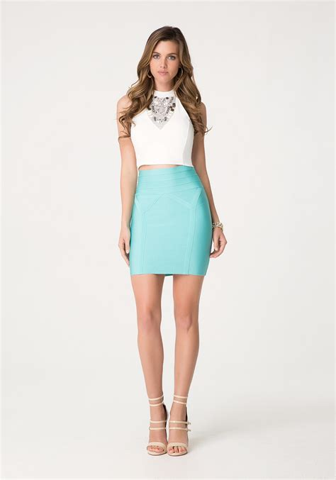 bebe high waist bodycon skirt in blue lyst